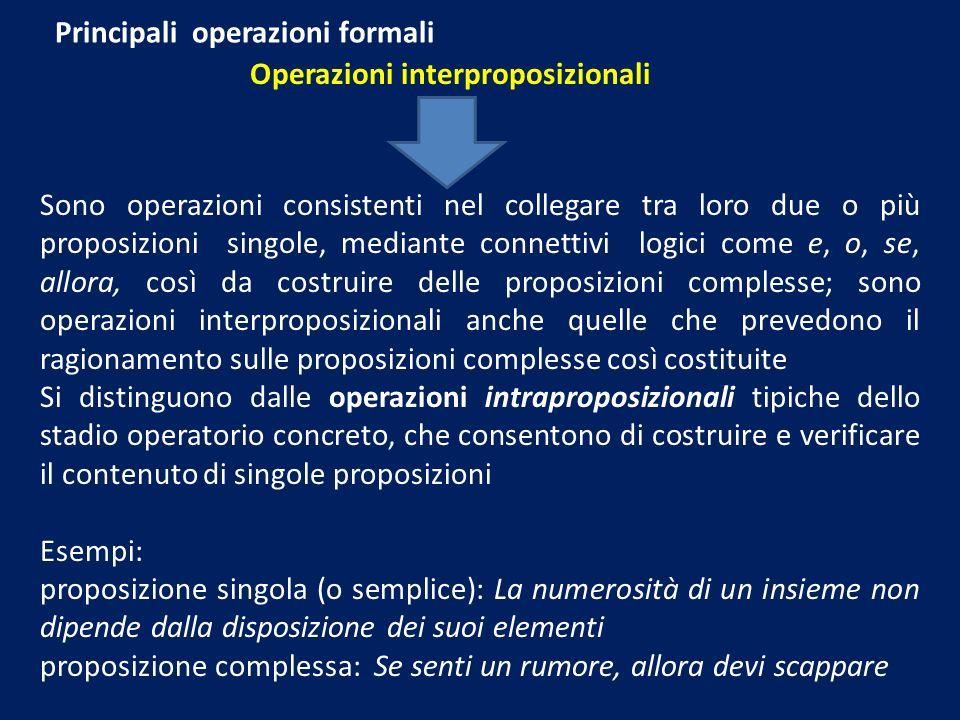Principali operazioni formali Operazioni interproposizionali Sono operazioni consistenti nel collegare tra loro due o più proposizioni singole, mediante connettivi logici come e, o, se, allora, così da costruire delle proposizioni complesse; sono operazioni interproposizionali anche quelle che prevedono il ragionamento sulle proposizioni complesse così costituite Si distinguono dalle operazioni intraproposizionali tipiche dello stadio operatorio concreto, che consentono di costruire e verificare il contenuto di singole proposizioni Esempi: proposizione singola (o semplice): La numerosità di un insieme non dipende dalla disposizione dei suoi elementi proposizione complessa: Se senti un rumore, allora devi scappare