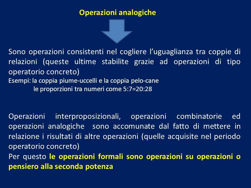 Operazioni analogiche Sono operazioni consistenti nel cogliere luguaglianza tra coppie di relazioni (queste ultime stabilite grazie ad operazioni di t