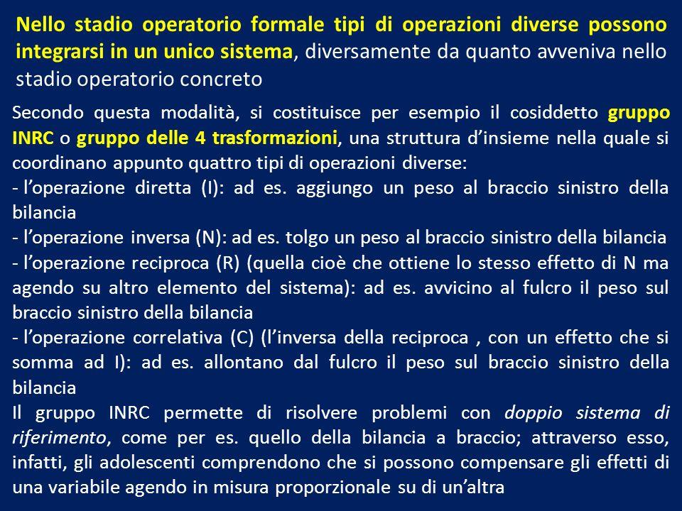 Nello stadio operatorio formale tipi di operazioni diverse possono integrarsi in un unico sistema, diversamente da quanto avveniva nello stadio operat