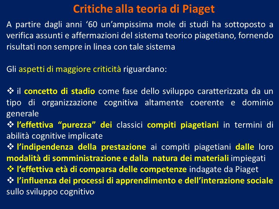 Critiche alla teoria di Piaget A partire dagli anni 60 unampissima mole di studi ha sottoposto a verifica assunti e affermazioni del sistema teorico p