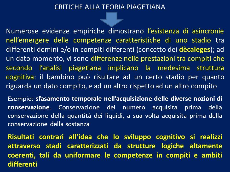 CRITICHE ALLA TEORIA PIAGETIANA Numerose evidenze empiriche dimostrano lesistenza di asincronie nellemergere delle competenze caratteristiche di uno s