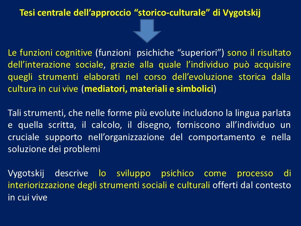 Tesi centrale dellapproccio storico-culturale di Vygotskij Le funzioni cognitive (funzioni psichiche superiori) sono il risultato dellinterazione soci