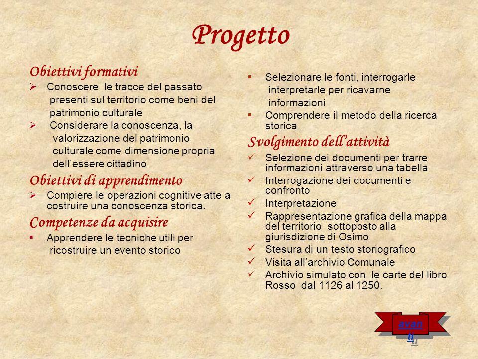 Percorso di lavoro Archivio simulato relativo alle cartule del Libro Rosso dal 1126 al 1267 Leggere i documenti e schedarli in base allargomento Selezionare i documenti utili alla ricerca Osimo città del Libro Rosso.