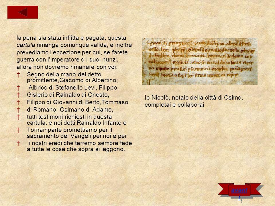 Carta di pace fra Osimani e Recanatesi Nel nome del Padre e del Figlio e dello Spirito Santo amen.