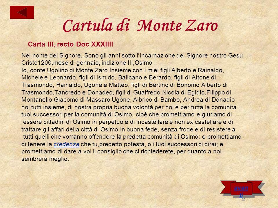 Inoltre promettiamo che non abiteremo nello stesso castello di Monte Zaro, né in nessun altro poggio senza la volontà del comune del consiglio di Osimo.