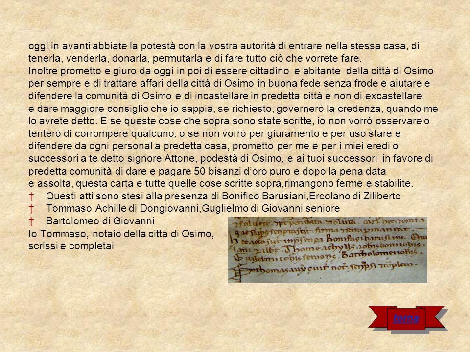 Cartula di Filottrano Nel nome di Dio.