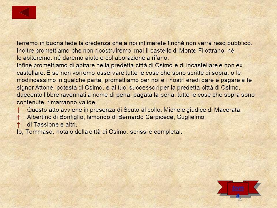 Carta del Castello di Cingoli Nel nome di Dio.