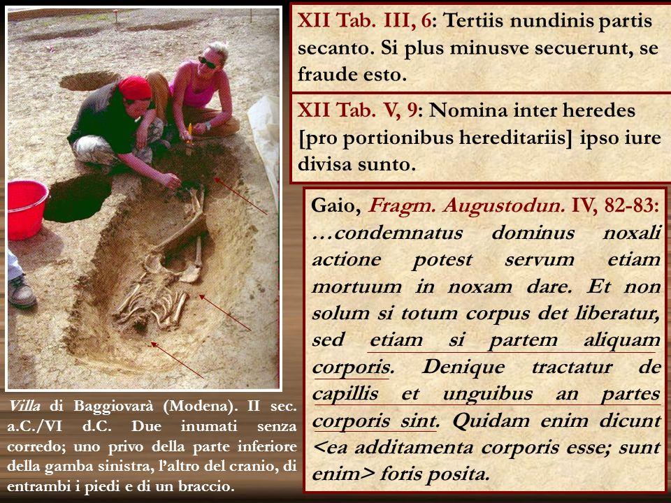 XII Tab. V, 9: Nomina inter heredes [pro portionibus hereditariis] ipso iure divisa sunto. 12 Villa di Baggiovarà (Modena). II sec. a.C./VI d.C. Due i