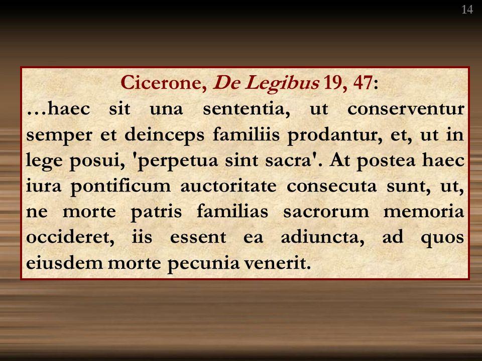 Cicerone, De Legibus 19, 47: …haec sit una sententia, ut conserventur semper et deinceps familiis prodantur, et, ut in lege posui, perpetua sint sacra .