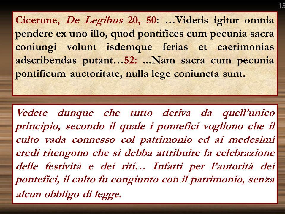 Cicerone, De Legibus 20, 50: …Videtis igitur omnia pendere ex uno illo, quod pontifices cum pecunia sacra coniungi volunt isdemque ferias et caerimonias adscribendas putant…52:...Nam sacra cum pecunia pontificum auctoritate, nulla lege coniuncta sunt.