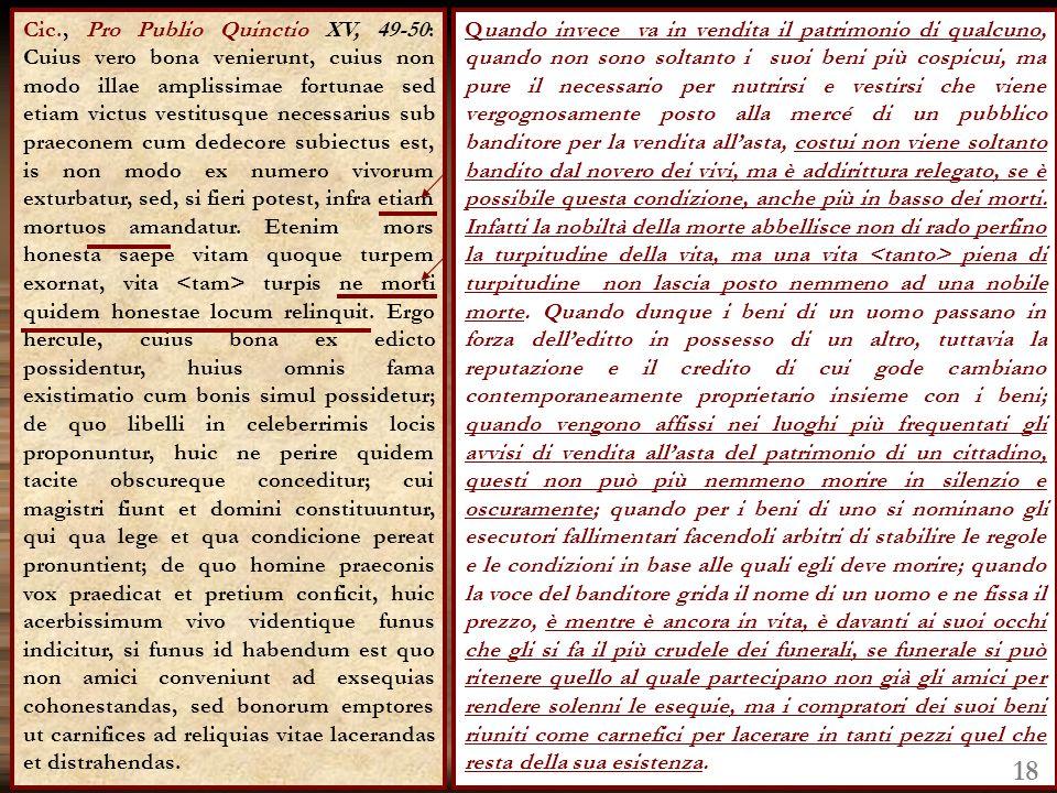 Cic., Pro Publio Quinctio XV, 49-50: Cuius vero bona venierunt, cuius non modo illae amplissimae fortunae sed etiam victus vestitusque necessarius sub