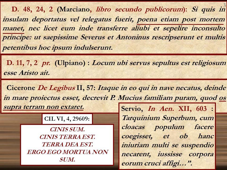 D. 48, 24, 2 (Marciano, libro secundo publicorum): Si quis in insulam deportatus vel relegatus fuerit, poena etiam post mortem manet, nec licet eum in