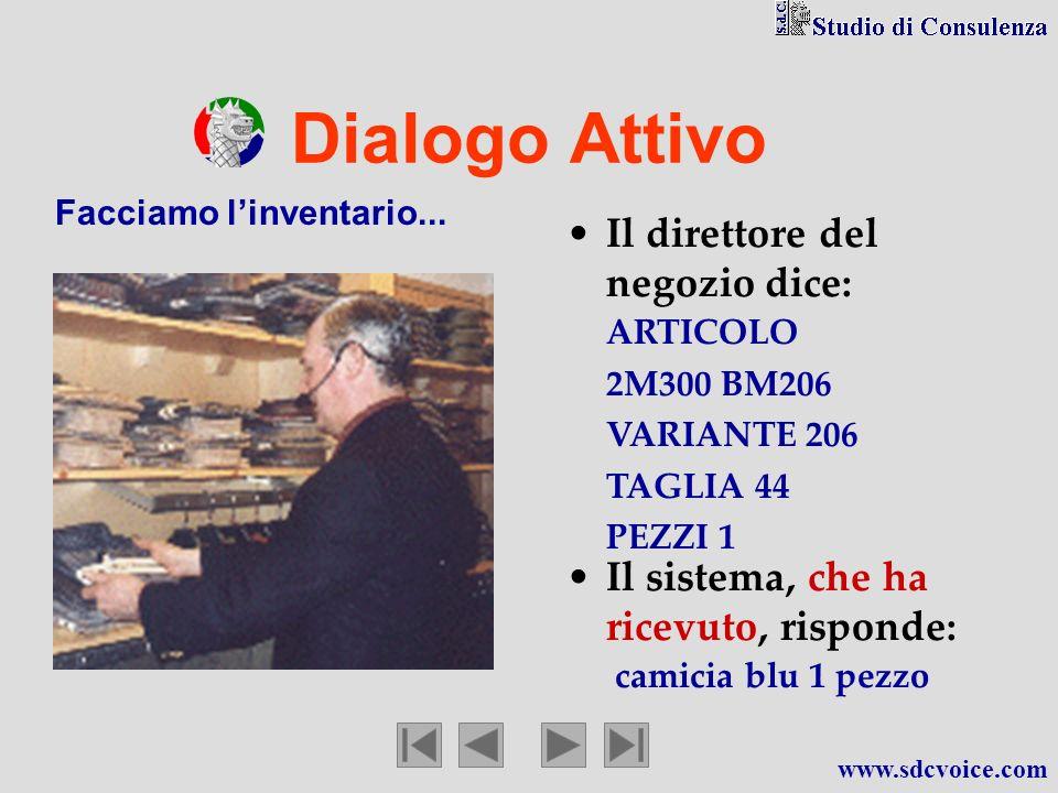 Dialogo Attivo Il direttore del negozio dice: Facciamo linventario... ARTICOLO 2M300 BM206 VARIANTE 206 TAGLIA 44 PEZZI 1 Il sistema, che ha ricevuto,