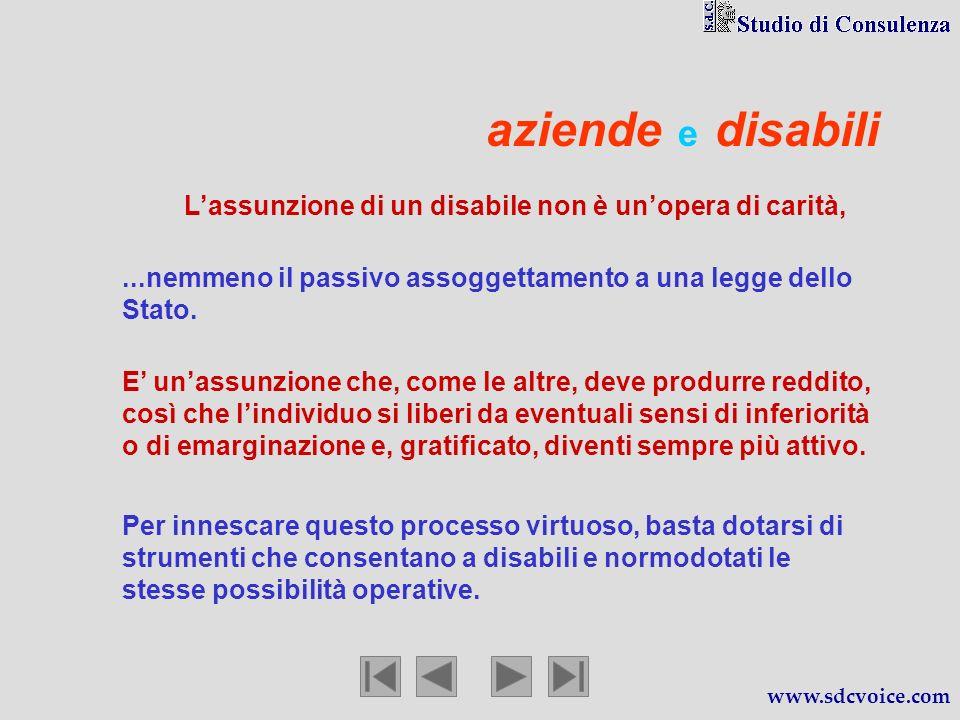 aziende e disabili Lassunzione di un disabile non è unopera di carità, www.sdcvoice.com … … … … E unassunzione che, come le altre, deve produrre reddi