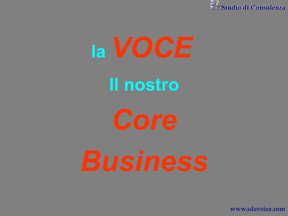 la VOCE Il nostro Core Business www.sdcvoice.com