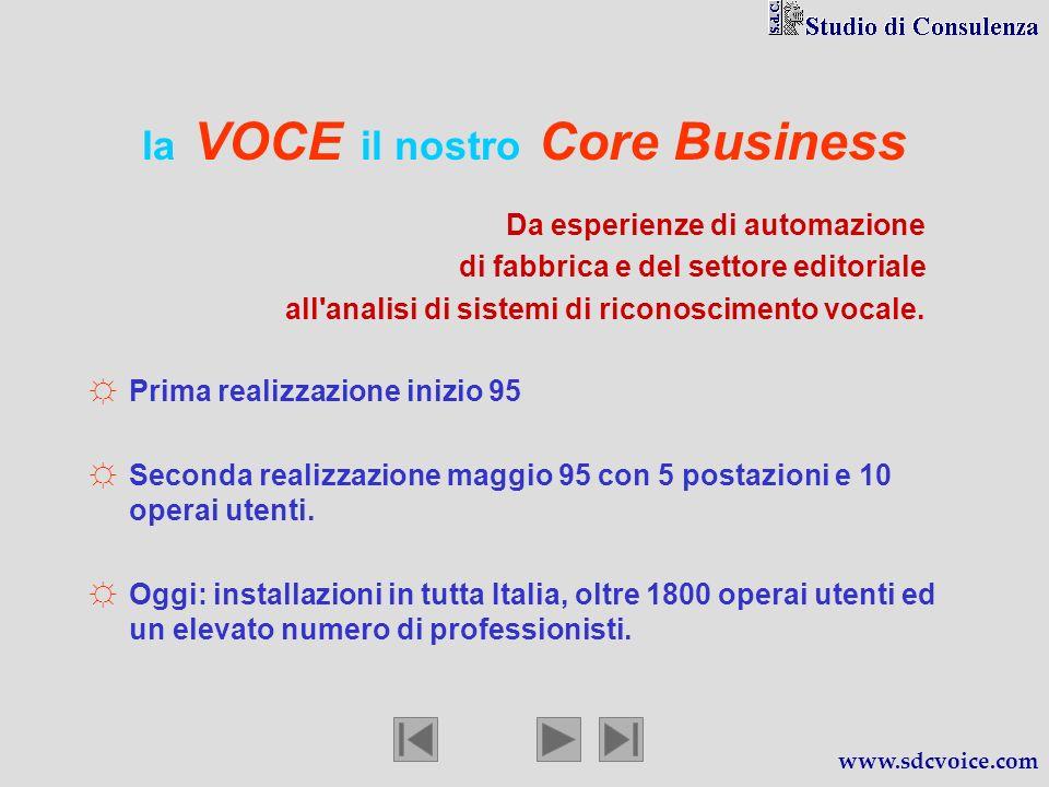 la VOCE il nostro Core Business Prima realizzazione inizio 95 Seconda realizzazione maggio 95 con 5 postazioni e 10 operai utenti.