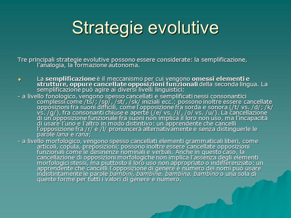 Strategie evolutive Tre principali strategie evolutive possono essere considerate: la semplificazione, lanalogia, la formazione autonoma. La semplific