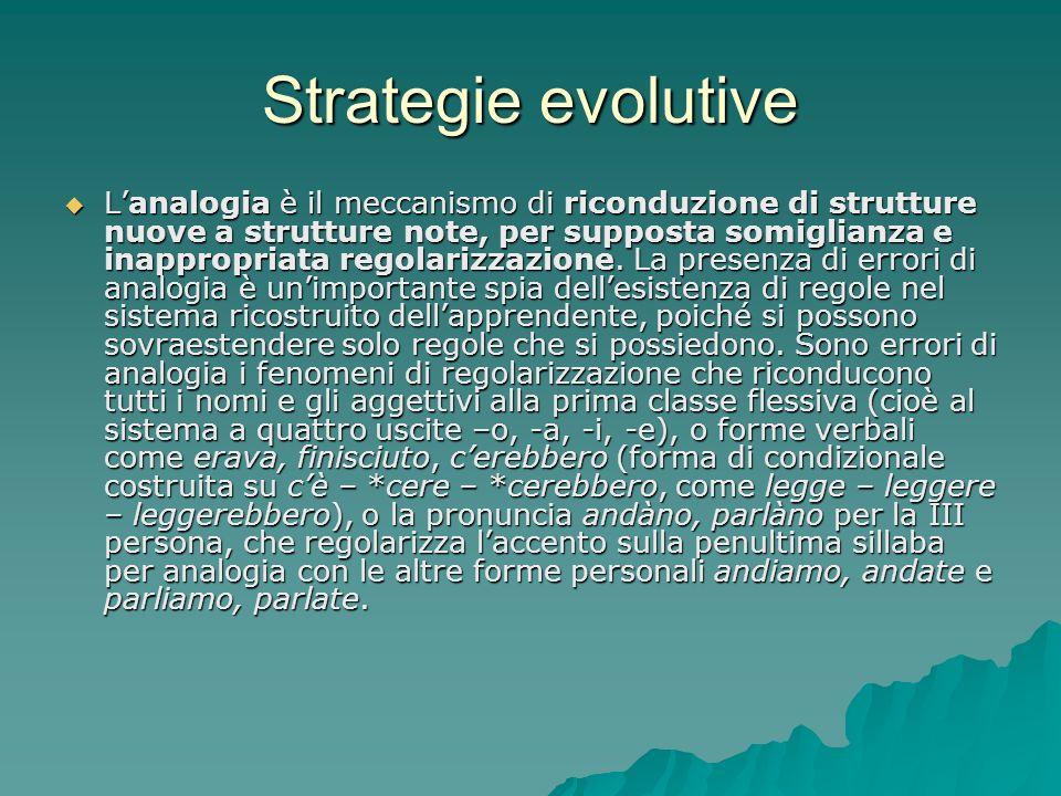 Strategie evolutive Lanalogia è il meccanismo di riconduzione di strutture nuove a strutture note, per supposta somiglianza e inappropriata regolarizz