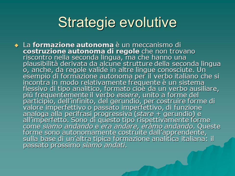 Strategie evolutive La formazione autonoma è un meccanismo di costruzione autonoma di regole che non trovano riscontro nella seconda lingua, ma che ha