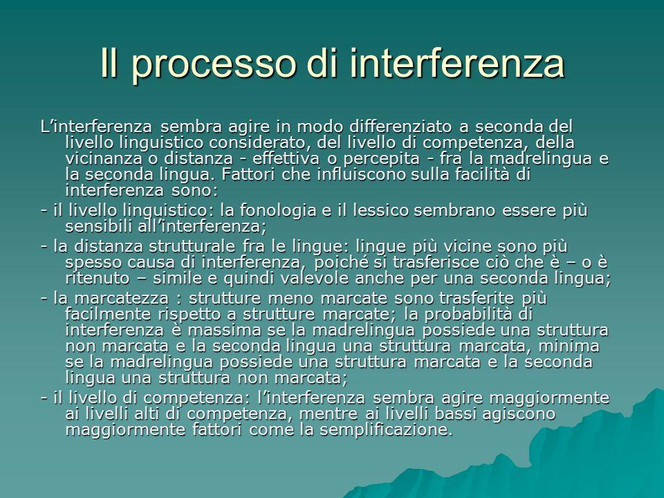 Il processo di interferenza Linterferenza sembra agire in modo differenziato a seconda del livello linguistico considerato, del livello di competenza,