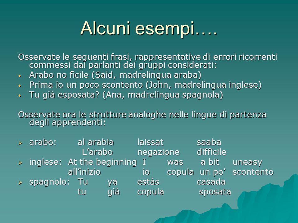 Alcuni esempi…. Osservate le seguenti frasi, rappresentative di errori ricorrenti commessi dai parlanti dei gruppi considerati: Arabo no fìcile (Said,