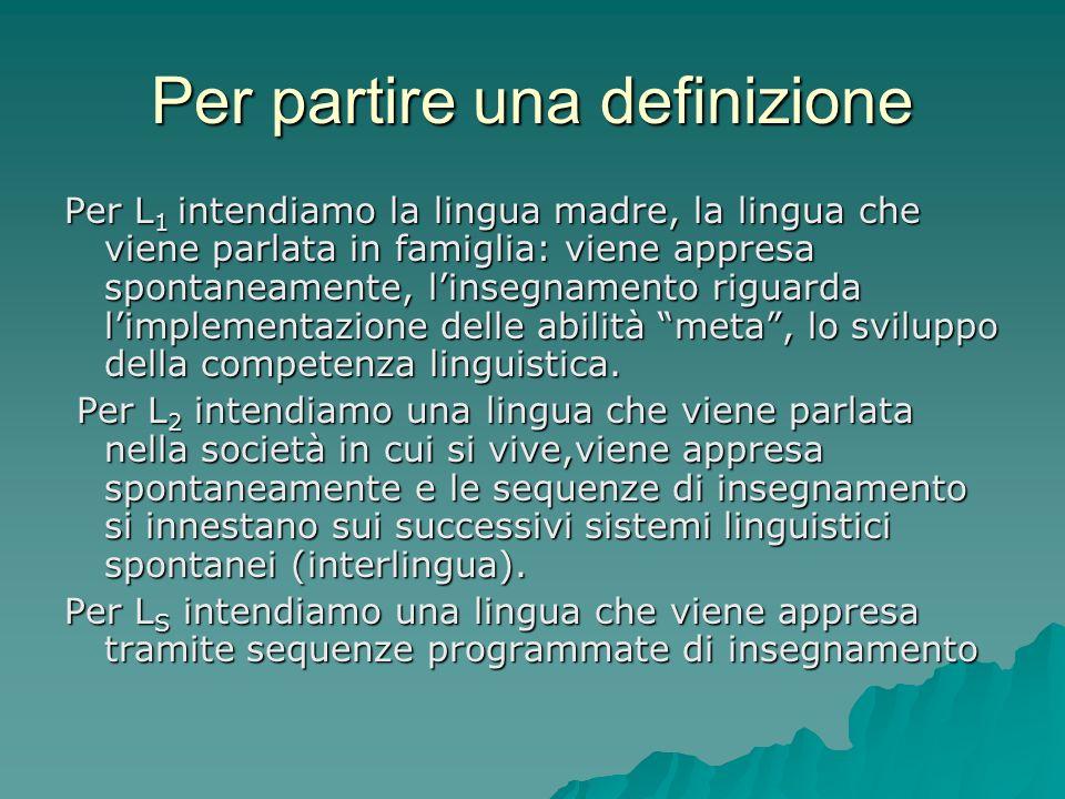 Per partire una definizione Per L 1 intendiamo la lingua madre, la lingua che viene parlata in famiglia: viene appresa spontaneamente, linsegnamento r