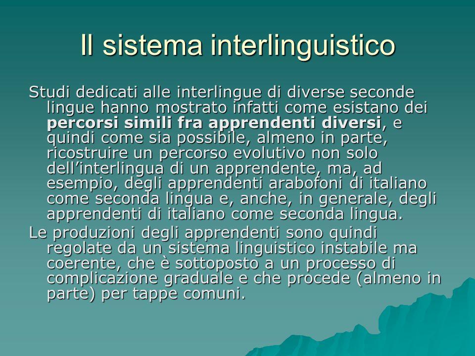 Il sistema interlinguistico Studi dedicati alle interlingue di diverse seconde lingue hanno mostrato infatti come esistano dei percorsi simili fra app