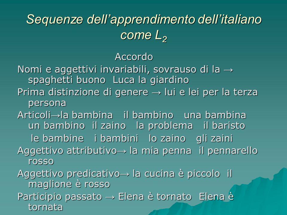 Sequenze dellapprendimento dellitaliano come L 2 Accordo Nomi e aggettivi invariabili, sovrauso di la spaghetti buono Luca la giardino Prima distinzio