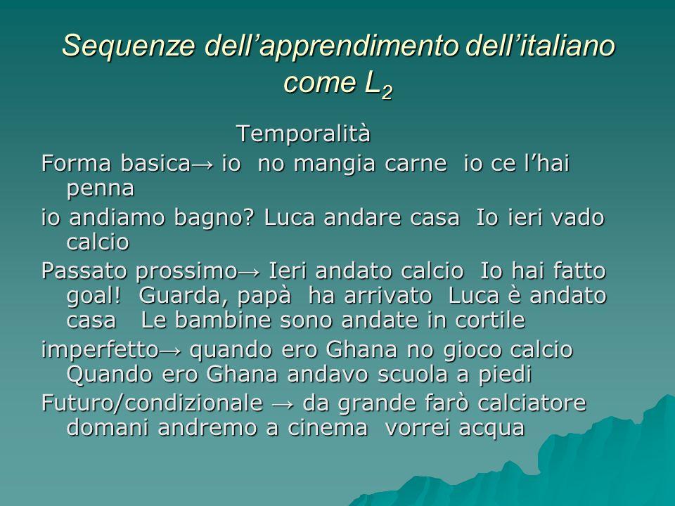 Sequenze dellapprendimento dellitaliano come L 2 Temporalità Forma basica io no mangia carne io ce lhai penna io andiamo bagno? Luca andare casa Io ie