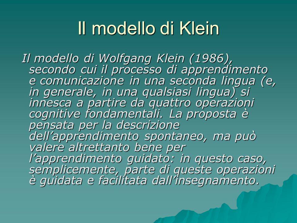 Il modello di Klein Il modello di Wolfgang Klein (1986), secondo cui il processo di apprendimento e comunicazione in una seconda lingua (e, in general