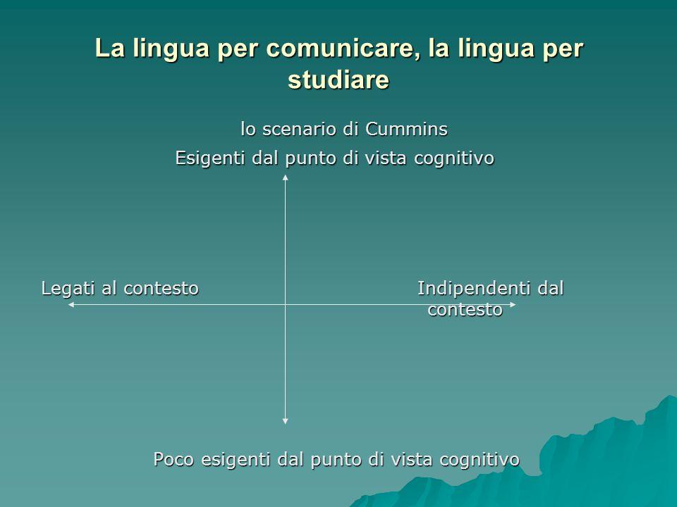 La lingua per comunicare, la lingua per studiare lo scenario di Cummins lo scenario di Cummins Esigenti dal punto di vista cognitivo Esigenti dal punt