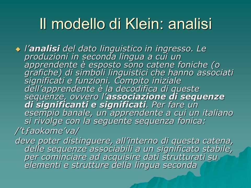 Il modello di Klein: analisi lanalisi del dato linguistico in ingresso. Le produzioni in seconda lingua a cui un apprendente è esposto sono catene fon