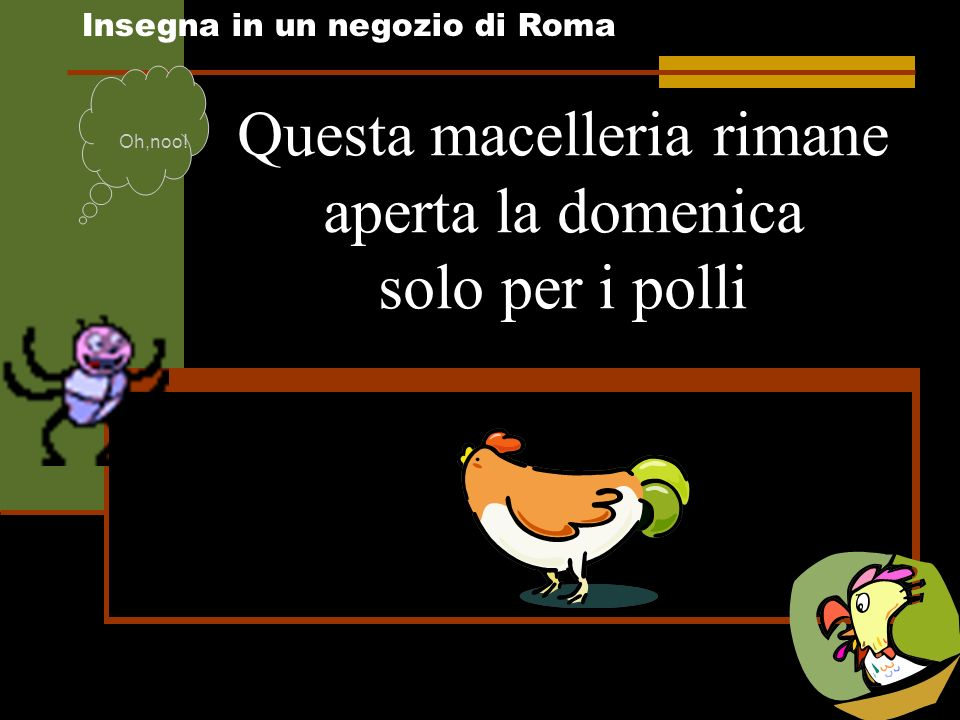 Questa macelleria rimane aperta la domenica solo per i polli Insegna in un negozio di Roma Oh,noo!
