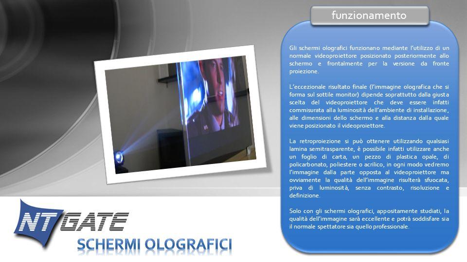 Gli schermi olografici funzionano mediante lutilizzo di un normale videoproiettore posizionato posteriormente allo schermo e frontalmente per la versi