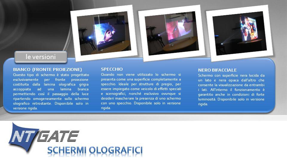 BIANCO (FRONTE PROIEZIONE) Questo tipo di schermo è stato progettato esclusivamente per fronte proiezione costituita dalla lamina olografica grigia ac
