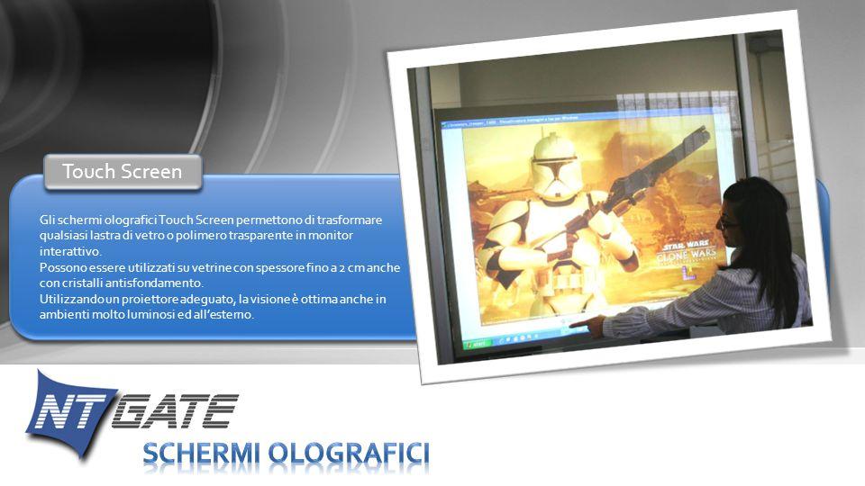 Gli schermi olografici Touch Screen permettono di trasformare qualsiasi lastra di vetro o polimero trasparente in monitor interattivo. Possono essere
