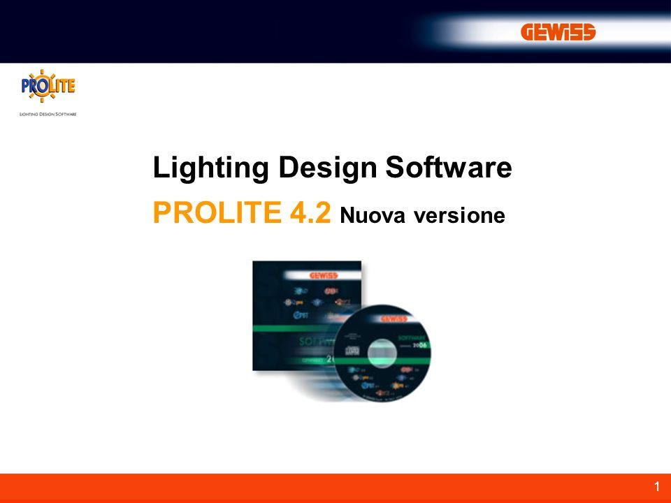 2 Prolite 4.0 è la nuova versione del software per la progettazione illuminotecnica di ambienti interni, aree esterne e strade, con funzioni di visualizzazione delle tabelle, dei risultati, dei grafici e delle immagini realistiche dellambiente da diversi punti di vista.