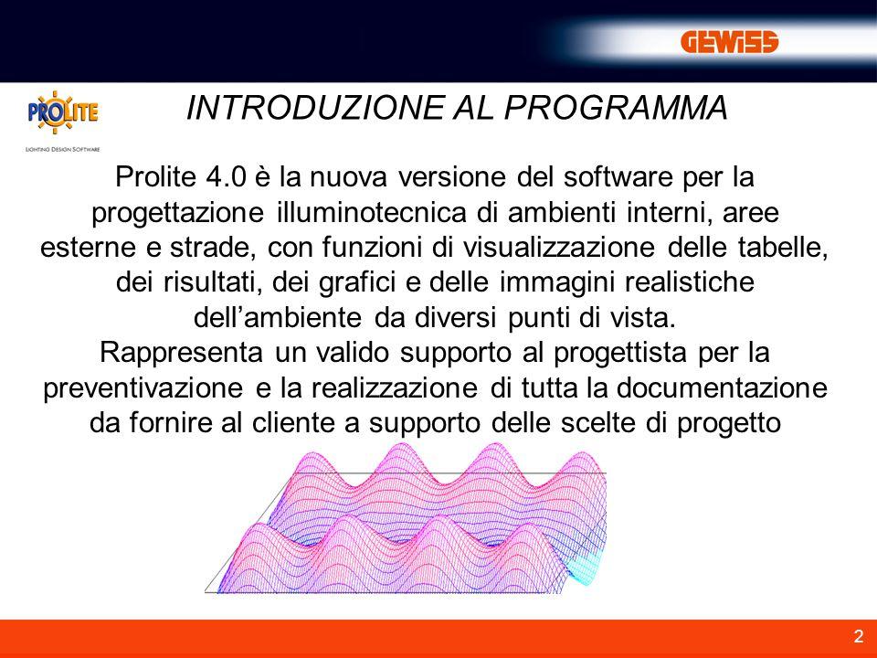 2 Prolite 4.0 è la nuova versione del software per la progettazione illuminotecnica di ambienti interni, aree esterne e strade, con funzioni di visual