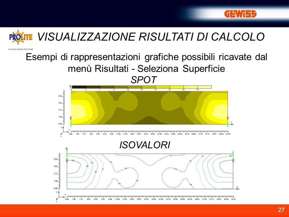 27 VISUALIZZAZIONE RISULTATI DI CALCOLO Esempi di rappresentazioni grafiche possibili ricavate dal menù Risultati - Seleziona Superficie ISOVALORI SPO