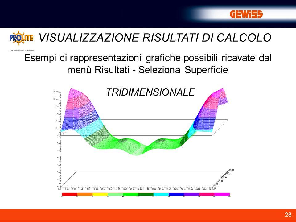 28 VISUALIZZAZIONE RISULTATI DI CALCOLO Esempi di rappresentazioni grafiche possibili ricavate dal menù Risultati - Seleziona Superficie TRIDIMENSIONA