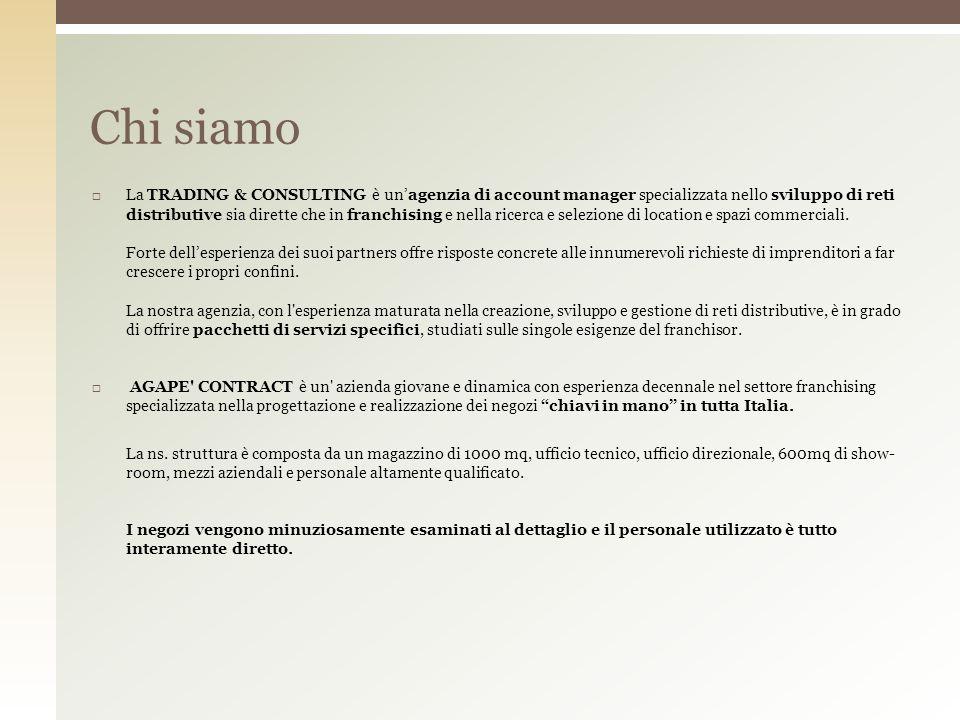 I nostri punti di forza Trading & Consunting Ricerca e Valutazione Sviluppo Rete In Italia Analisi Fattibilità Assistenza e Consulenza Agapè Contract Velocità di esecuzione Assistenza Tecnica Arredamenti Edilizia Progettazione e Conformità