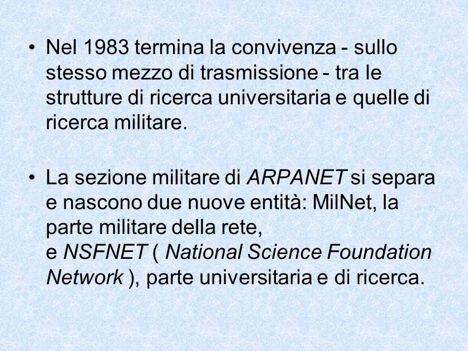 Nel 1983 termina la convivenza - sullo stesso mezzo di trasmissione - tra le strutture di ricerca universitaria e quelle di ricerca militare. La sezio