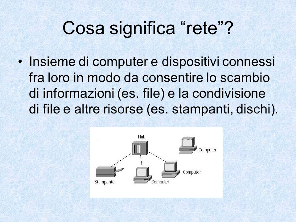 Cosa significa rete? Insieme di computer e dispositivi connessi fra loro in modo da consentire lo scambio di informazioni (es. file) e la condivisione