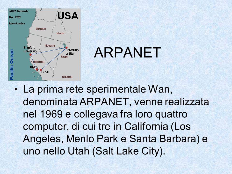 ARPANET La prima rete sperimentale Wan, denominata ARPANET, venne realizzata nel 1969 e collegava fra loro quattro computer, di cui tre in California