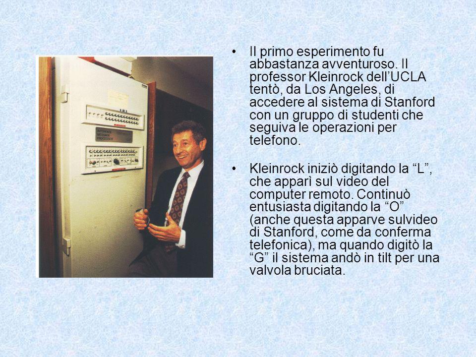 Da ARPANET a Internet Durante gli anni 70 ARPANET si estende col collegamento di molte reti universitarie e di ricerca Data lenorme variabilità dellHW e del SW fu necessario stabilire opportuni protocolli di rete, un insieme di regole predefinite alle quali i diversi calcolatori dovevano attenersi per parlare fra loro e per comprendersi (1974 nasce TCP/IP)