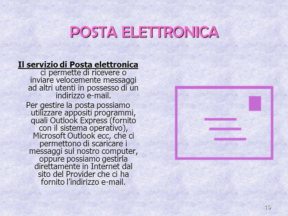 10 POSTA ELETTRONICA Il servizio di Posta elettronica ci permette di ricevere o inviare velocemente messaggi ad altri utenti in possesso di un indirizzo e-mail.