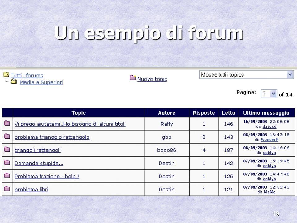 19 Un esempio di forum