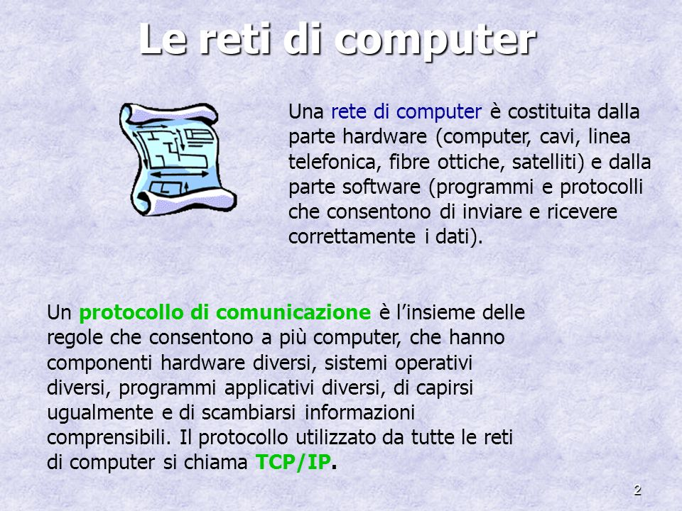 2 Le reti di computer Una rete di computer è costituita dalla parte hardware (computer, cavi, linea telefonica, fibre ottiche, satelliti) e dalla part