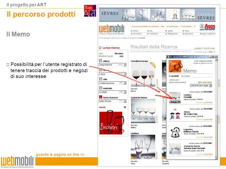 Il progetto per ART Il percorso prodotti Il Memo Possibilità per lutente registrato di tenere traccia dei prodotti e negozi di suo interesse guarda la pagina on line >>