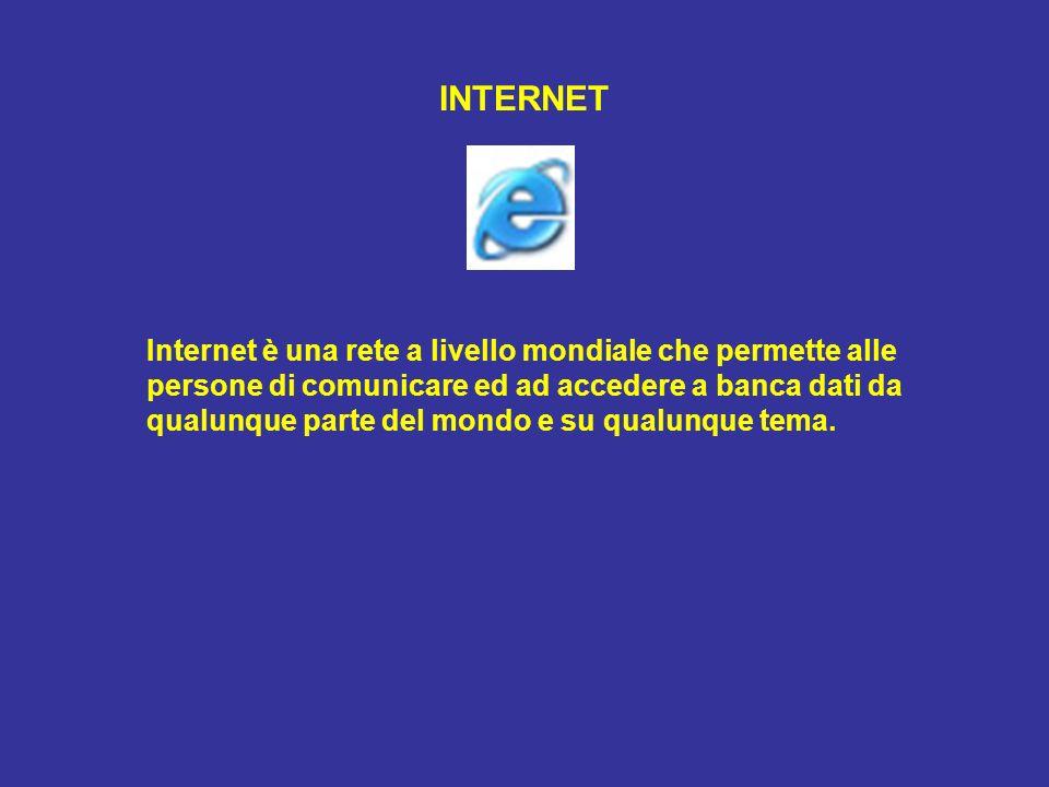 INTERNET Internet è una rete a livello mondiale che permette alle persone di comunicare ed ad accedere a banca dati da qualunque parte del mondo e su qualunque tema.